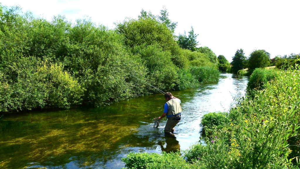 River angler deploys landing net